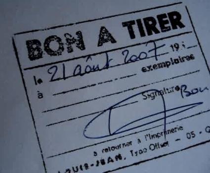 Tampon Bon à Tirer signé dont le nombre d'exemplaires est vide