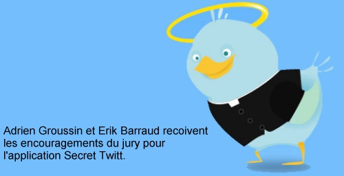 L'application Se confesser sur Twitter d'Erik Barraud et Adrien Groussin gagne les encouragements du jury.