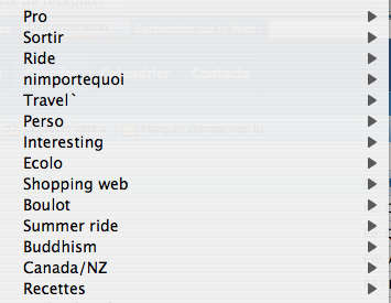 Pro, Sortir, Ride, N'importe quoi, Travel, Interesting, Ecolo, Shopping web, Boulot, Summer ride, Buddhism, Canada / NZ, Recettes