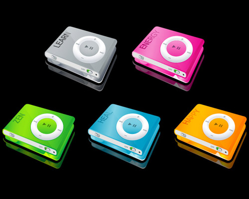 Ipod shuffle affichent les mots clés Learn, Happy, Energy, Heal and Zen.